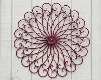Metal Wall Decor / Metal Scroll / Iron Wall Decor / Wrought Iron / Swirl Decor / Large Metal Wall Decor / Cranberry Decor / Large Iron Decor