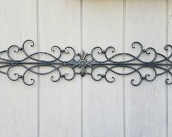 Wrought Iron Wall Art / Metal Wall Art / Large Metal Wall Art / Large  Wrought Iron Wall Decor / Metal Wall Decor / Fluer De Lis Wall Decor