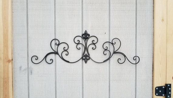 Metal Wall Decor / Fleur de lis Wall Decor / Shabby Chic / Wall Decor /  Wrought Iron / Bedroom Wall Decor / Kitchen Decor / Black Decor/