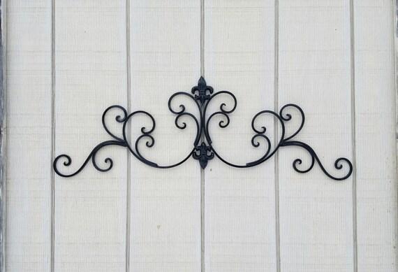 Black Metal Fleur de lis Wall Decor Shabby Chic Home Black Wall Decor  Wrought Iron Bedroom Wall Decor Kitchen Decor