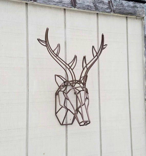 Geometric Wall Decor / Geometric Deer Head / Metal Deer Art/ | Etsy