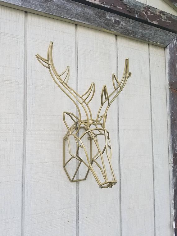Geometric Wall Decor / Iron Deer Head / Metal Deer Art/ Deer | Etsy
