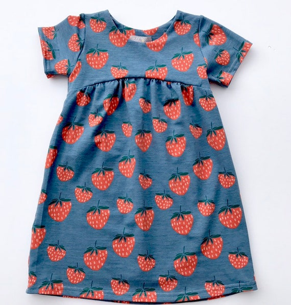 "Eddie & Bee organic cotton  short sleeved dress in ""Summer Strawberry"" print"