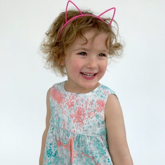 "Eddie & Bee  ""Ida"" dress in turquoise,  ponk and silver ""Monet"" print super soft cotton double gauze with silver trim."