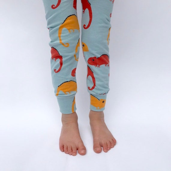 "Eddie & Bee organic cotton leggings in pale blue ""Karma Chameleons "" print."