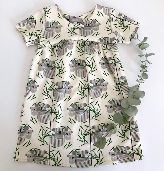 Eddie & Bee organic cotton  short sleeved dress in Koala koala print