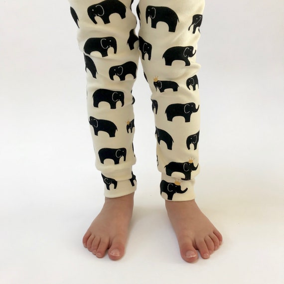 "Eddie & Bee organic cotton leggings in Cream/ Black/ Metalic Gold ""Royal Elephants"" print."