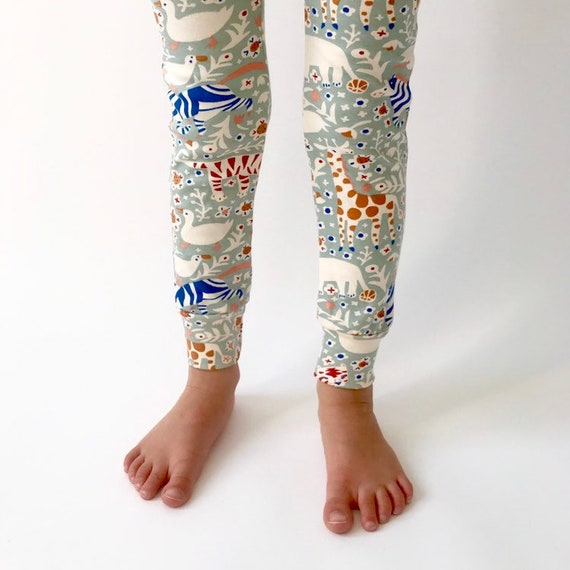 "Eddie & Bee organic cotton leggings in Mineral ""Animal Party"" print."
