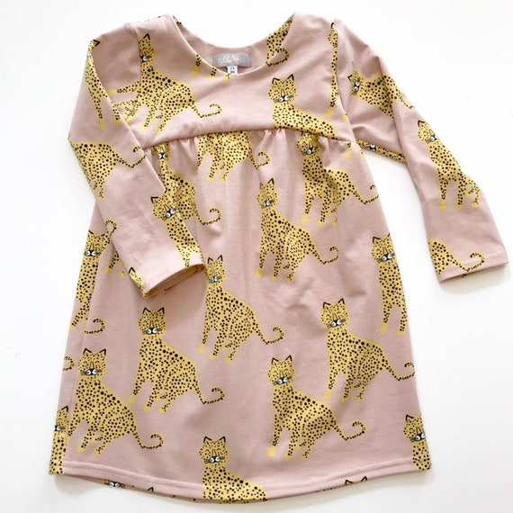 "Eddie & Bee organic cotton  long sleeved dress in blush rose ""happy leopards"" print"
