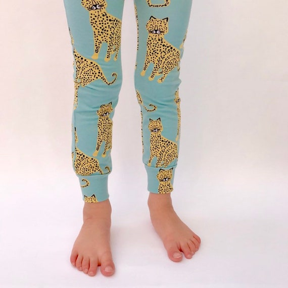 "Eddie & Bee organic cotton leggings in Aqua ""Happy Leopards"" print."