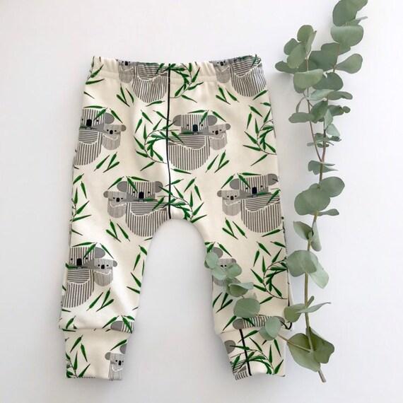 "Eddie & Bee organic cotton leggings in cream ""Koala Koala"" print."