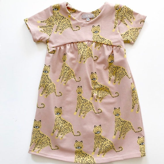 "Eddie & Bee organic cotton  short sleeved dress in blush rose ""happy leopards"" print"