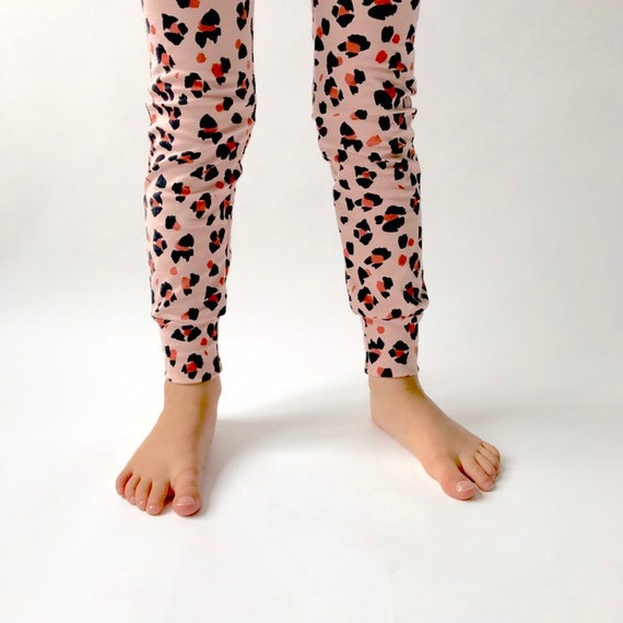 "Eddie & Bee organic cotton leggings in Dusty pink ""Leopard spot "" print."