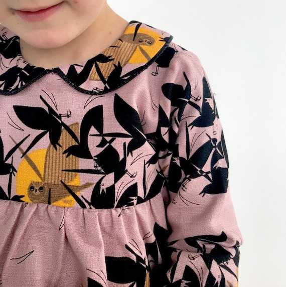 "Eddie & Bee ""Luna"" collar dress in pink  ""Owl at Dusk "" print organic cotton barkcloth with Sparkly black trimmed collar."