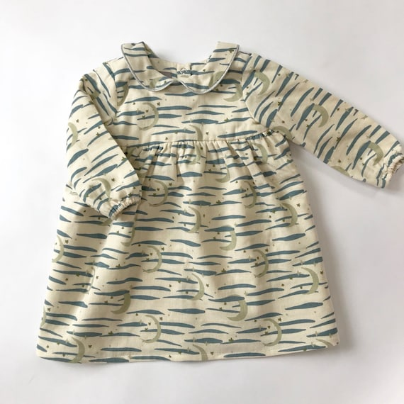 "Eddie & Bee ""Luna"" collar dress in cream ""Twilight sky"" print cotton double gauze."