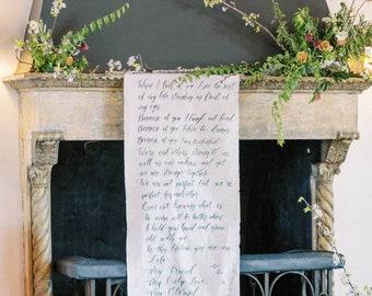 Canvas Wedding Banner Sign Boho Sign Rustic Sign Handwritten