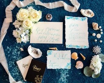Bespoke Styled Shoot Luxury Wedding Stationery Flat Lay Handmade Paper Kit for Photography, Photographers, Wedding Planners & Creatives