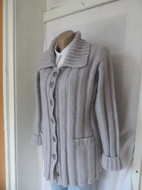 Gift cardigan knitted handknit coat Autumn Wool grey jacket Mom cardigan Bohemian Wool knitted Women's coat For wXdPHqq