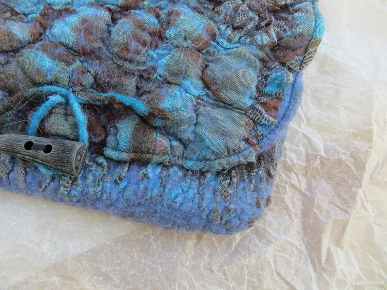 Small bag Travel pouch Makeup bag Blue-brown felted clutchwristlet bag Felted pouch Felted wool hand b\u0430g Nunofelted small bag