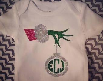 Glitter Grinch Monogram Toddler Tee