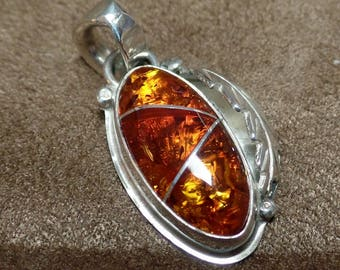 Amber Pendant, Under 100, Silver Amber Pendant, Amber Necklace Silver Inlay, Sterling Silver Amber Pendant, Ladies Amber Pendant, 1329