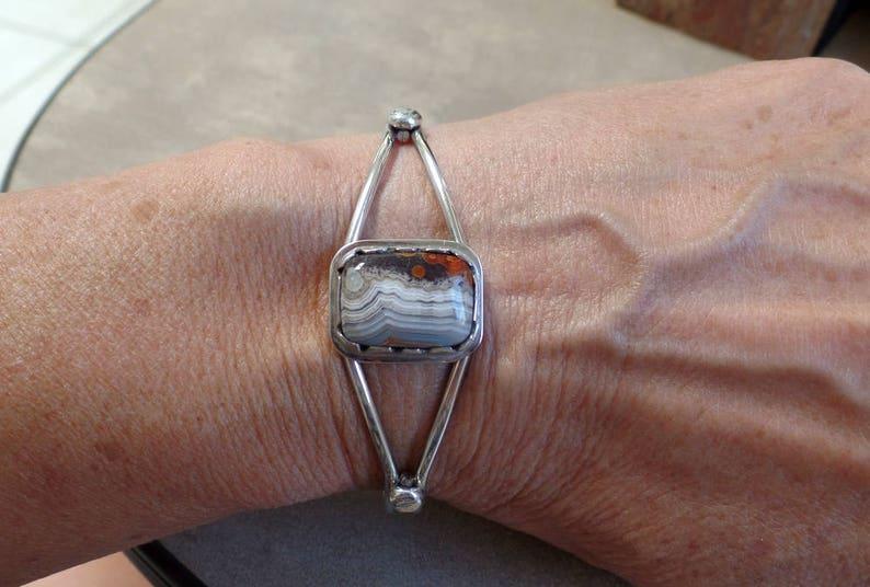 1321 Crazy Lace Agate Bracelet Agate Bracelet Silver Cuff Bracelet Crazy Lace Agate Cuff Sterling Lace Agate Cuff Bracelet