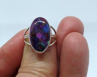 Purple Turquoise Ring, Sterling Silver Turquoise Ring, Ladies Turquoise Ring, Ladies Purple Turquoise, Under 75, Gift For Her, 925, 1518