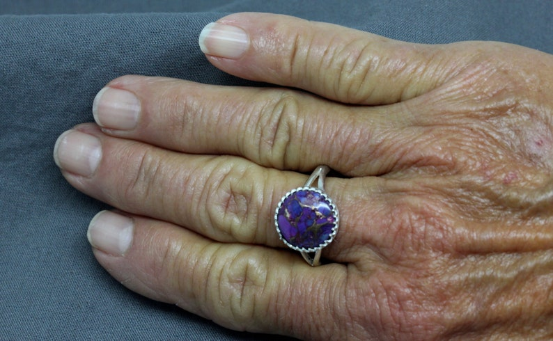 Ladies Purple Turquoise Sterling Silver Handmade Ring Under 50 Dollars #2209 Gift For Her 925 Silver Purple Turquoise Ring