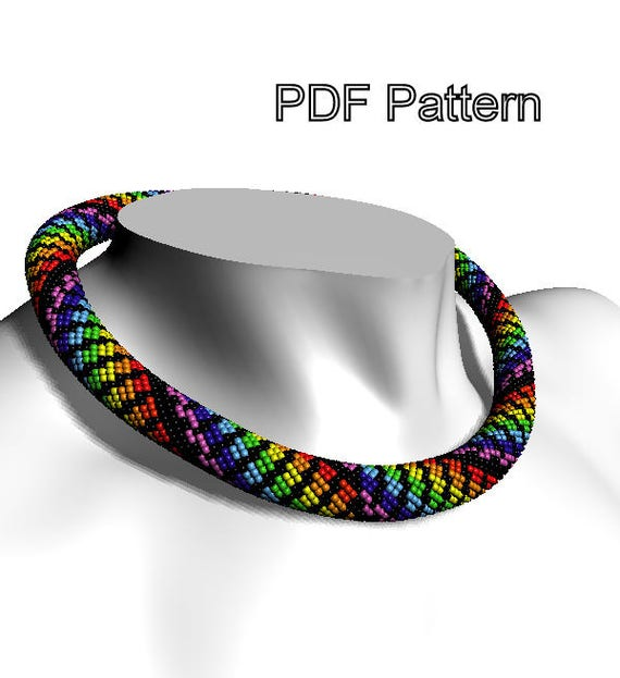 Pattern Crochet Beaded Necklace Bead Rope Pdf Patterns Seed Etsy