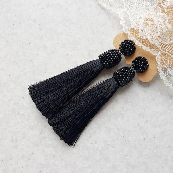 Tassel Gothic crochet earrings Long black natural ostrich feathers earrings Shoulder duster jewelry