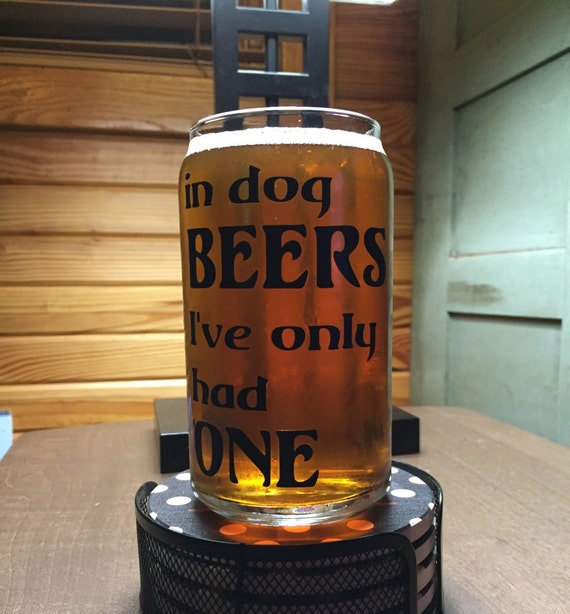 16 oz  Can Shaped Beer Glass - Reads