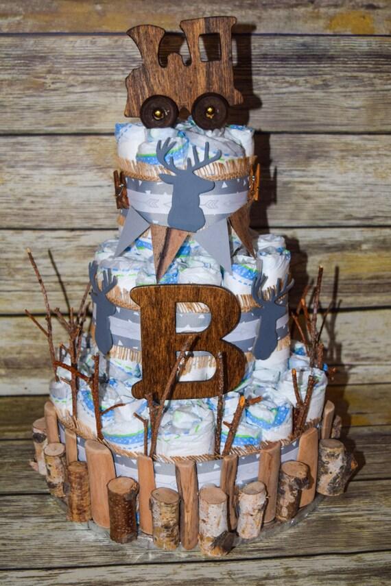 Rustikale Baby Junge Windel Kuchen Windel Kuchen Junge Windel Etsy