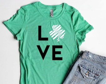 LOVE Shamrock St. Patrick's Day Shirts Junior Fitted Women Four Leaf Clover Womens Shirts St. Patrick's Day Party Shirt Cute Irish Shirts