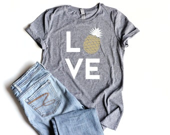 Pineapple LOVE Shirt Junior Fitted Pineapple Party Shirts Bridal Shower Pineapple Birthday Party Shirt Women Gold Pineapple Summer Shirt