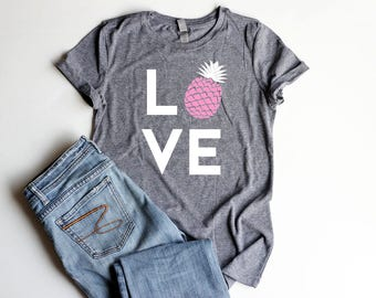 Pineapple Party Shirt LOVE Junior Fitted Pineapple Shirts Bridal Shower Birthday Party Shirt Women Pineapple Summer Shirt Women Cute Shirt