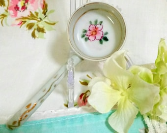Pretty Little Pink Floral Mayonnaise Spoon Embellished with Gold Accents, Hand Painted Nippon Porcelain Ladle or Spoon