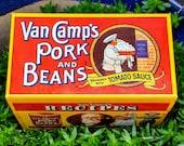 Vintage Van Camp 39 s Recipe Tin Box, Old School Metal Pork Beans Tin, 1986 Stokley Van-Kamp Inc Retro Metal Recipe Organizer Box