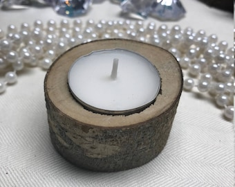 Rustic wedding wood candle holder