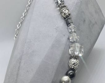 """Crystal Glass Beaded Wrap Around Men's Bracelet 16"""" long. to fit up to 8"""" wrist"""