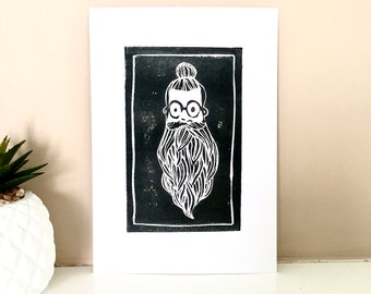 Bearded, black linocut print, decoration, Richard Illustration poster