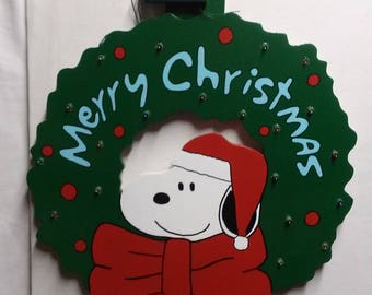 Handmade Wooden Snoopy Christmas Wreath with Indoor/Outdoor Battery operated LED Lights