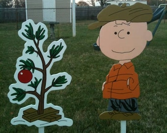 Charlie Brown With The Little Christmas Tree Yard Art