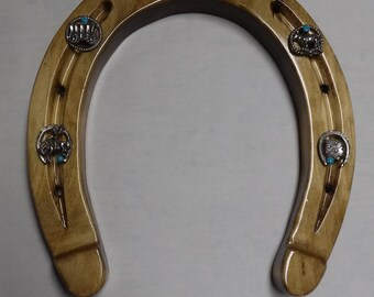 Handmade Wall mounted Wooden Horseshoe with western theme charms
