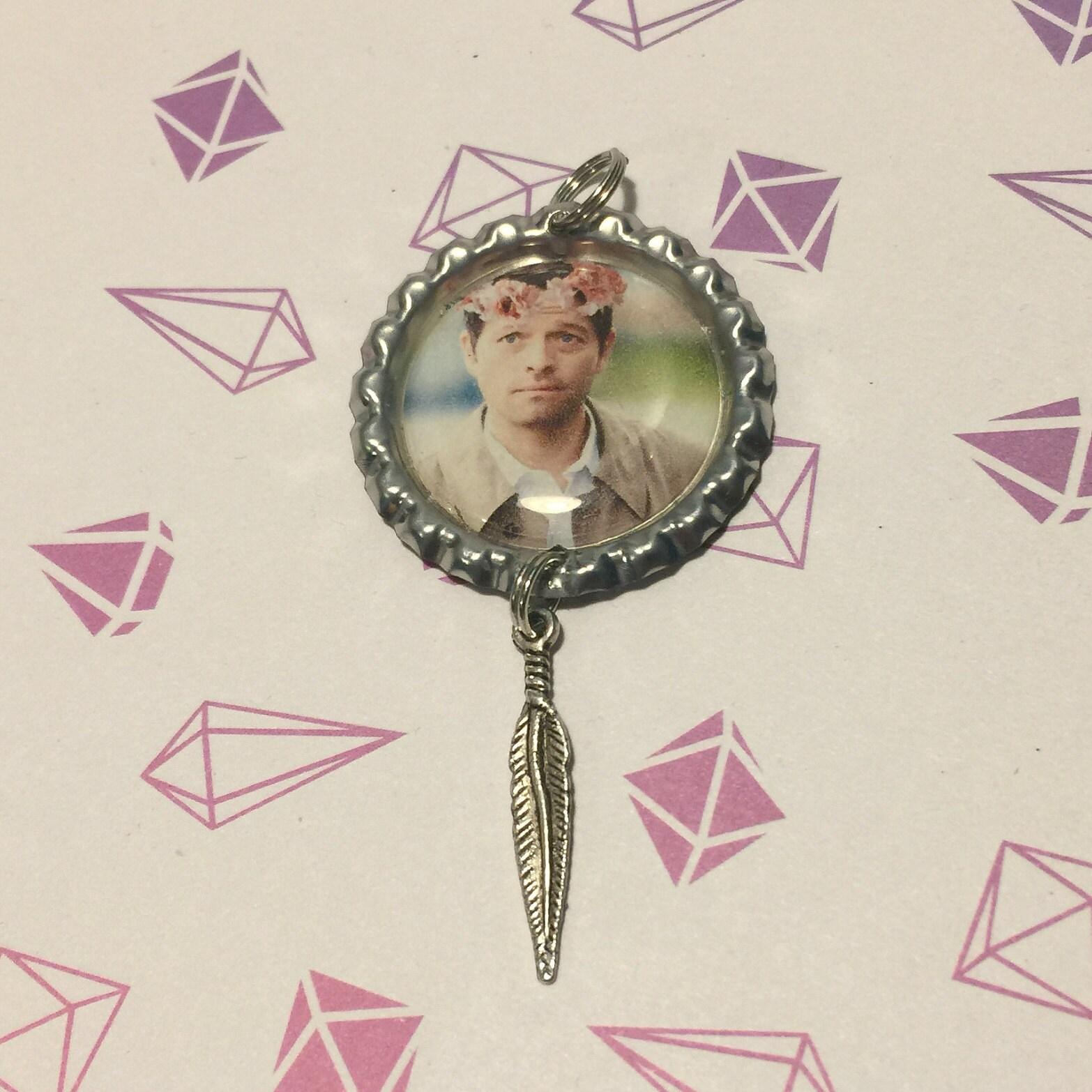 Castiel Flowercrown Bottlecap Necklace Pendant Misha Collins Etsy