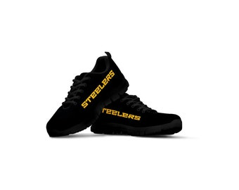 3d6b9c5ceb92bd Pittsburgh Steelers Black Themed Casual Athletic Running Shoe Sneaker Mens  Womens Sizes Steeler Apparel and Gifts Shoes for Men and Women