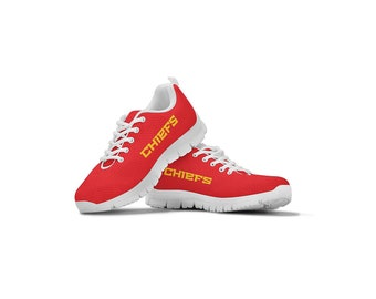 newest collection a213f 7d51a Kansas City Chiefs Themed Casual Athletic Running Shoe Sneaker Mens Womens  Sizes Apparel and Gifts Shoes for Men and Women