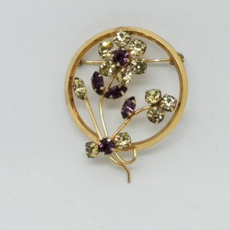 12k Gold Filled K-Art Circle Brooch with PurpleGreen Rhinestone Flowers