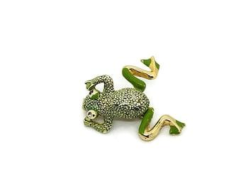 Vintage Dangling Legs Frog Brooch Green Gold