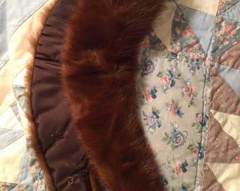 Vintage Brown Fur Collar , Futaba Fur Co., original box