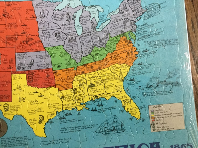 Vintage Schmid Civil War America Puzzle Map 1861-1865